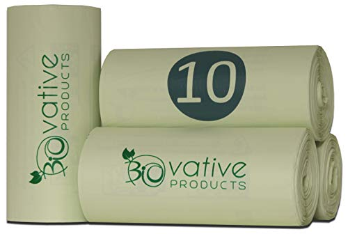 Bolsas de basura orgánica compostable 10L con y sin asa - 100% compostable y biodegradable - 100 piezas. Bolsas de basura orgánica de 10 litros con y sin mango para su basura orgánica y compost