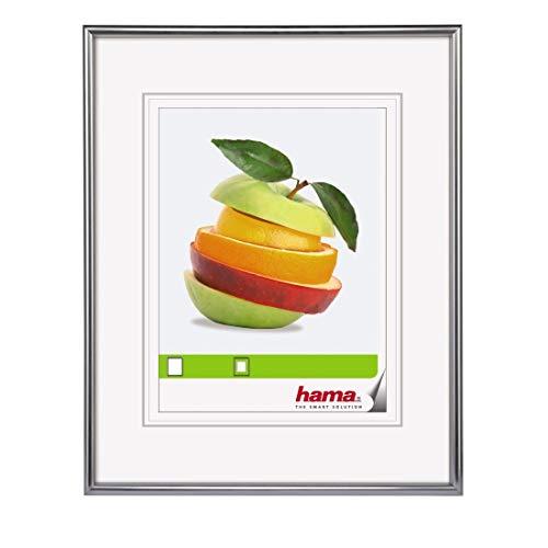 Hama Sevilla Bilderrahmen, 18 x 24 cm mit Passepartout 10 x 15 cm, hochwertiges Glas, Kunststoff Rahmen, zum Aufhängen und Aufstellen, silber