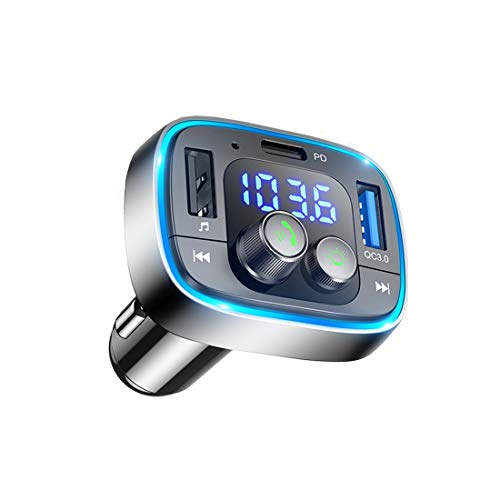 LIHAN Bluetooth FM Transmitter for Car,7 Color LED Backlit Car Adapter, QC3.0 & USB-PD Ports Charger, Wireless Radio Audio Player, Handsfree Calling & Music Receiver, Compatible for Most Smartphones
