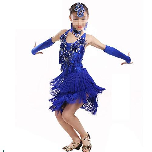 Jupe frangee pour danse latine Robe latine Paillettes Girl Dress Backless Party robe de bal de danse moderne High And Low Jupe Samba convient aux petites filles ( Couleur : Blue , Size : 160cm )