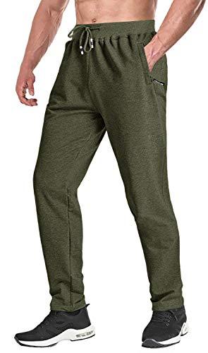 KEFITEVD Pantalons de Survêtement de Gymnastique pour Hommes pour la Course d'été Yoga Leggings Pantalon avec Poches Zippées Armée Verte