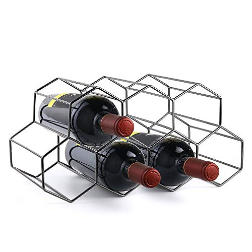 Siveit Countertop Wine Rack Metal 9 Bottle Wine Holder for Wine Storage Tabletop Free Standing Wine Bottle Holder for Bar Wine Cellar Pantry Basement Cabinet No Assembly Required Black