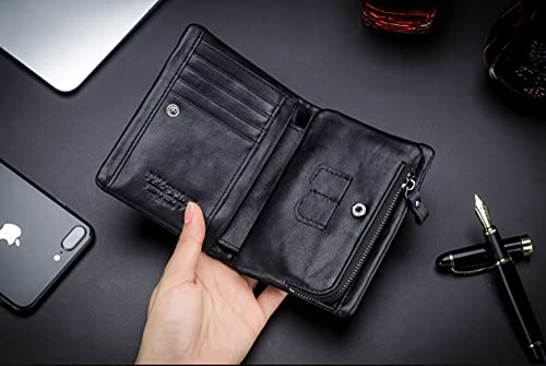 RFID Men's Genuine Leather Wallet, Bifold Multi Card Extra Capacity Wallet with Zippers 2