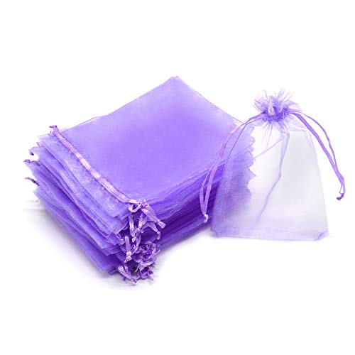 Dealglad 50pcs Drawstring Organza Jewelry Candy Pouch Christmas Wedding Party Favor Gift Bags (3x4', Light Purple)