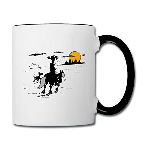 Lucky Luke mit Jolly Jumper und Rantanplan Tasse zweifarbig, Weiß/Schwarz