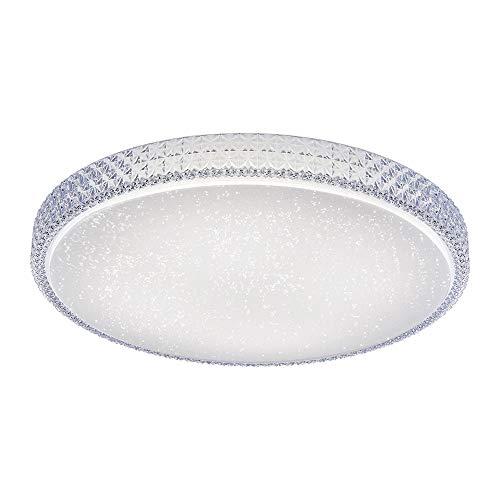 LED Deckenleuchte in Sternenhimmel-Optik, rund Ø60cm | Deckenleuchte über Wandschalter dimmbar, Farbtemperatursteuerung, warmweiß - neurtalweiß - kaltweiß | Deckenbeleuchtung in Kristall-Optik