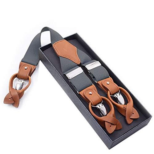DYDONGWL Suspenders/Heren Braces voor Broek Vintage Leren Suspenders voor Mannen 6 Knop Broek Band 125cm YiA059
