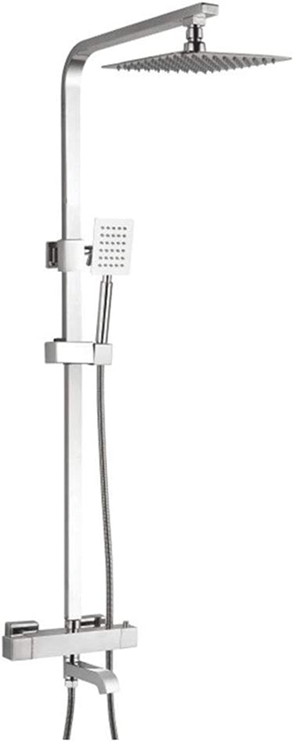 SUN HUIJIE Shower System With Thermostat Controller, Shower Faucet Set With Ultra Thin Rain Shower Head, Brass