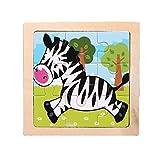 Rompecabezas pequeño Puzzle para niños 9 Piezas de Woody Forest Animal Story Puzzle (MulticolorZebra)