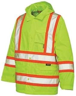 Rain Jacket with Hood, Hi-Vis Yellow/Gr, 2XL