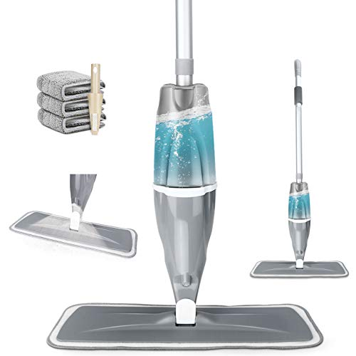 Tencoz Spray Mop, 640ml Fregona con Vaporizador Mopa Fregona con 3 La Almohadilla de Microfibra y 1 Rasqueta de Ducha, Mopa Spray Rotación de 360°