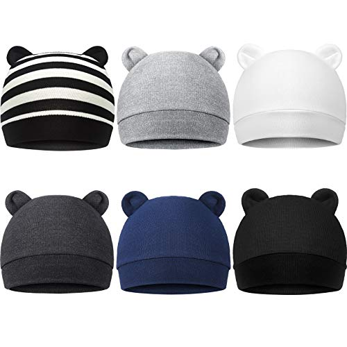 6 Pieces Newborn Baby Hat Bear Ears Infant Caps Baby Boy Girl Toddler Hats Infant Beanie Caps for 0-3 Months (Pure Style)