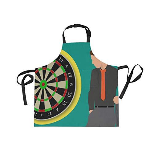 LORONA Unisex-Küchenschürze mit Dartscheibe, verstellbar, mit 2 Taschen zum Kochen, Backen, Gärtnern, für Damen und Herren