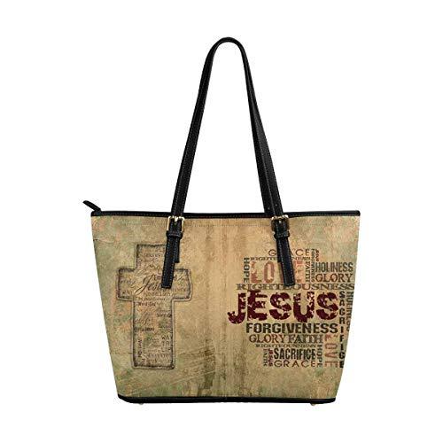 InterestPrint Christian Religious Bible Verse Jesus with Cross Women's Leather Handbags Ladies Shoulder Bag Tote Bags