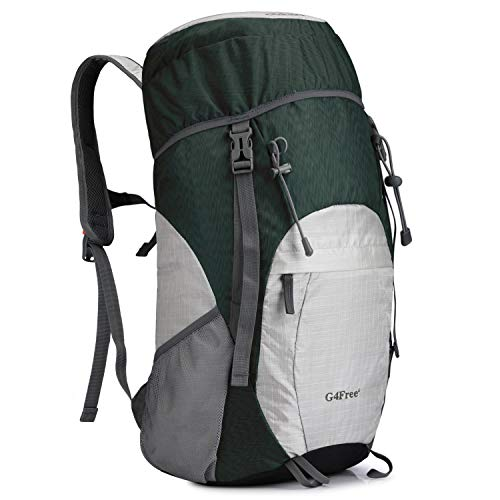 Lightweight Packable Hiking Backpack 40L Travel Camping Daypack (Silver/Green)