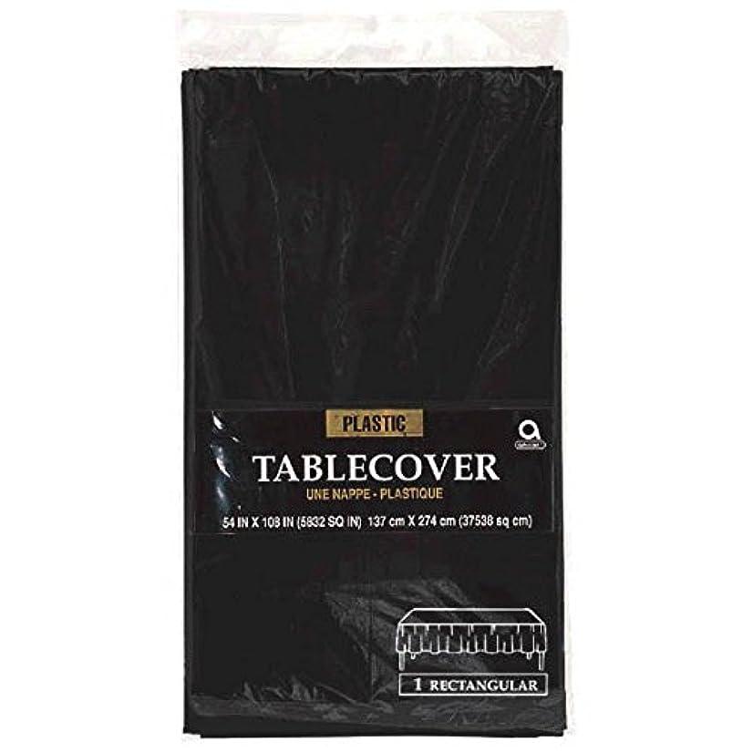 Amscan Jet Black Rectangular Plastic Table Cover Party Supply, Black, 54