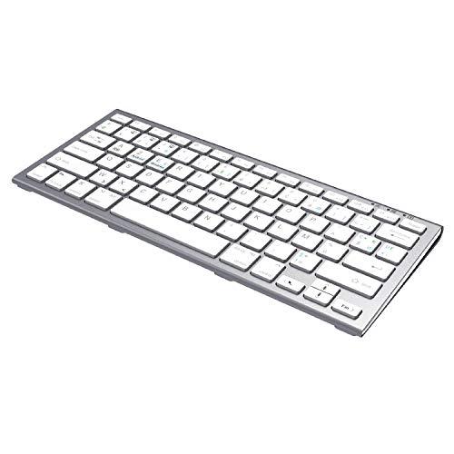 Fenifox Teclado inalámbrico Bluetooth recargable, teclado AZERTY doble sistema de conmutación para macOS Windows, PC, Smart TV, ordenador portátil, color blanco plateado