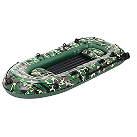 YX-ZD Inflatable Kayak, Foldable Inflatable Fishing Boat Drifting Ship Kayak with Oars,Puncture Resistant PVC Inflatable… 5 GOOD COMPANION: The inflatable boat is easy to use, the valve can be quickly inflated and deflated, allowing you to enjoy the leisure time on the water quickly. It is a good companion for your holiday with family and friends. GREAT QUALITY: This Inflatable boat adopts environmentally friendly PVC material, which has wear resistance, sun resistance. Heavy duty, suitable for two persons to use, load bearing is up to 350kg/771lbs. High-quality materials allow you to relax and play on the water. SAFE AND RELIABLE: Our inflatable boats are designed with different air chambers to ensure your safety. PVC thermal bonding seams provide first-class air retention and fine manufacturing processes to ensure no leaks.