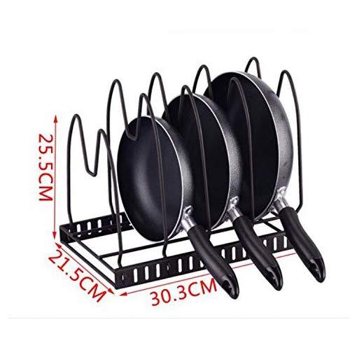 Soporte-Organizador de sartenes y tapaderas – Soporte de metal cromado con 4 compartimentos para sartenes y tapas de ollas – Organizador de cajones y armarios de cocina (25.5*21.5*30.3 CM)