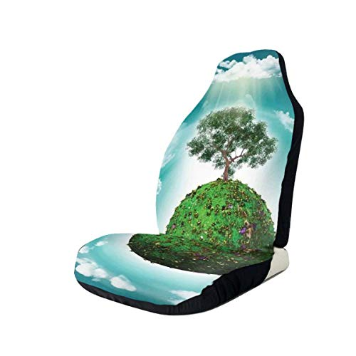 Jiger Seat Covers Vehicle Protector Car Mat, Grassy Globe World met Plant Clouds in Air Science Fiction Mother Earth, Fit Most Cars, Sedan, Truck, SUV 2 PCS Multi-coloured