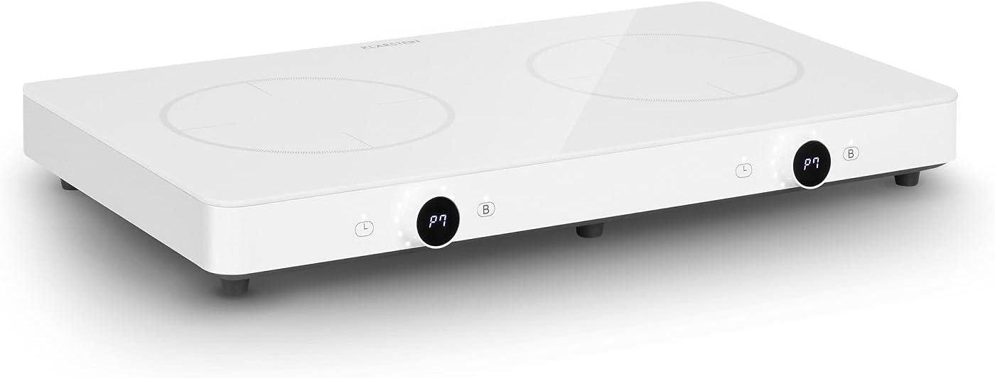 Klarstein FutureChef - Placa de inducción, Potencia 3000 W, 10 niveles, Protección sobrecalentamiento, Reconocimiento automático de ollas, Temporizador, Pantalla LED, Vitrocerámica, 2 fuegos, Blanco