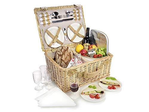 Sänger Picknickkorb für 4 Personen – Model Föhr, hochwertiger Weidenkorb mit integrierter Kühltasche, 27 teiliges Picknick-Set mit Picknickgeschirr, Volumen des Speisenkühler 7,7 Liter