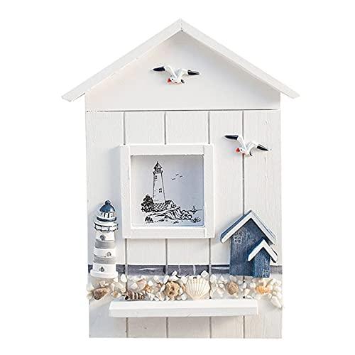 QiKun-Home Caja de Llaves de Madera Maciza del océano mediterráneo, Soportes creativos para artículos Diversos montados en la Pared, Cajas de Almacenamiento para decoración de Sala de Estar, Blanco