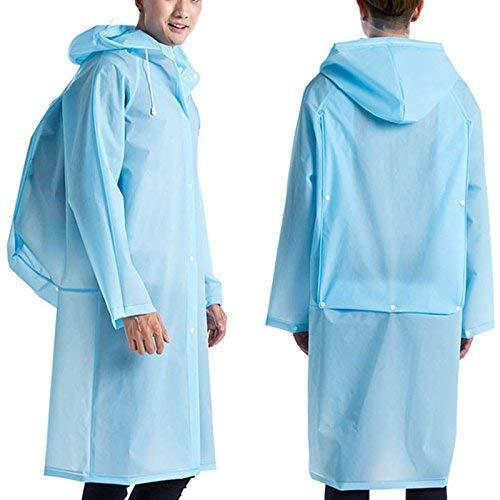 ASOSMOS Herren Damen Regenmanel mit Kapuze Eva Wasserfest Lang Regenkleidung Poncho Regen Mantel mit Schultasche Position - Blau, XL