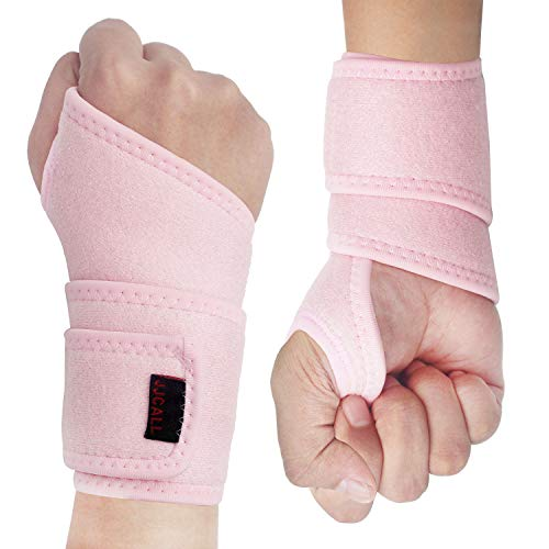 2Pack Version Profession Wrist Support Brace, Adjustable Wrist Strap Reversible Wrist Brace for Sports Protecting/Tendonitis Pain Relief/Carpal Tunnel/Arthritis, Right&Left (Pink)