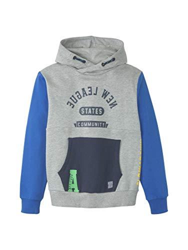 TOM TAILOR Kids Jungen Placed Print Sweatshirt, Grau (Drizzle Melange|Gray 8438), (Herstellergröße: 176)