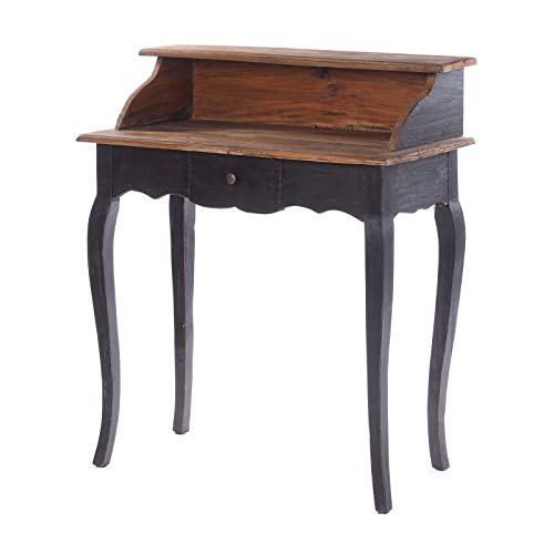 DESIGN DELIGHTS VINTAGE SOLID WOOD SECRETARY NAPOLEON | 80x92x40cm (BxHxD), gerecycled hout, shabby stijl console tafel | koloniale bureau 04 Black-natural