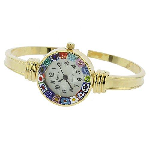 glassofvenice Damen Murano Glas Armreif Armbanduhr