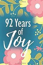 92 Years of Joy: 92nd Birthday Keepsake Journal - Sketch Notebook Diary