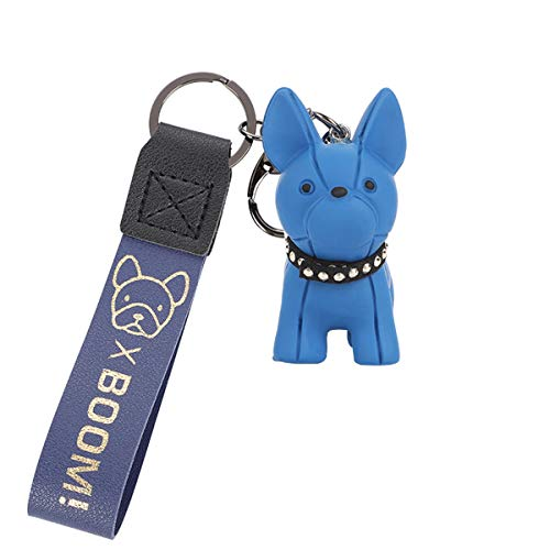 French Bulldog Rubber Keychain, Car Key Chain Keychain Accessories Purse Hand bag Backpack Charm Gift for Women, Kids (Blue)