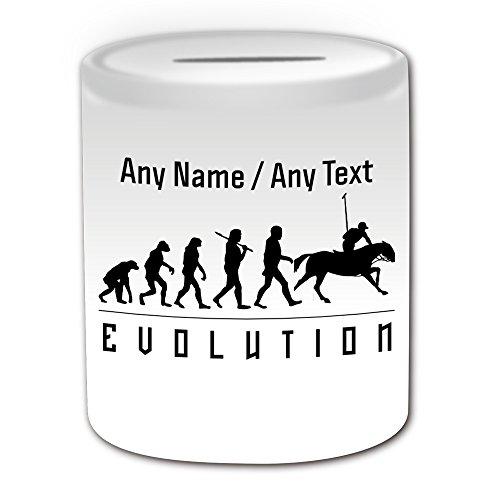 UNIGIFT Gepersonaliseerd geschenk - Polo Money Box (Evolution Design White) Elke Naam Bericht op Unieke - Team Player Outline Contour Olympisch Spel Sport Paard Doel