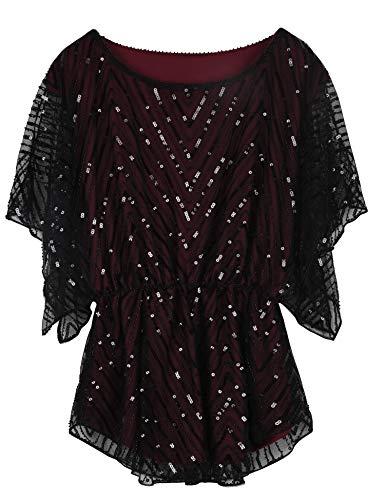 PrettyGuide Women's Glitter Blouse Angel Sleeves Flare Peplum Beaded Formal Top Burgundy US8
