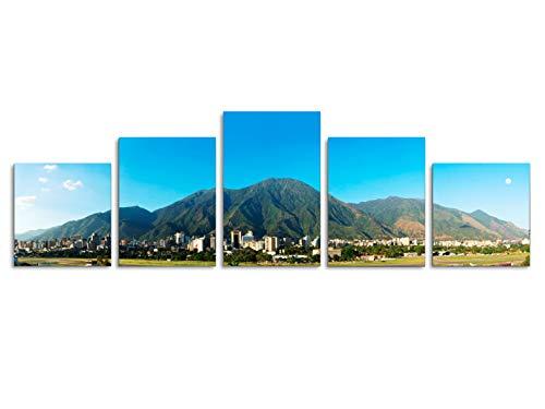 Foto Canvas Cuadro del Ávila Caracas Venezuela | Fotografía Panorámica Impresa en Lienzo | Cuadros Panorámicos Listos para Colgar | Decoración 5 Piezas Tamaño 162 x 45 cm