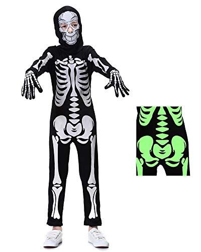 yolsun Skeleton Costume for Kids, Glow in The Dark, Halloween Fearsome Costume (Medium, Black)