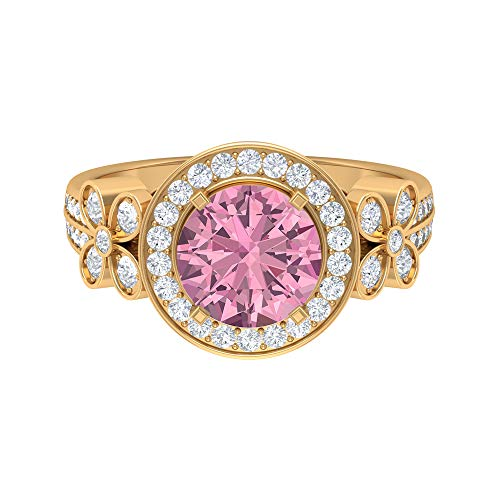 Floral Engagement Ring, D-VSSI 2.6 CT 8 MM Moissanite Tourmaline Halo Ring, Art Deco Wedding Ring, Unique Gemstone Jewelry, Sidestone Anniversary Ring, 14K Yellow Gold, Size:UK M