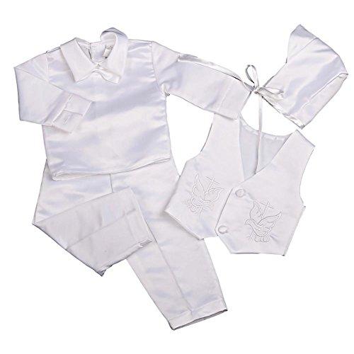 Lito Angels Baby Jungen 4 Teiliges Anzug Taufe Taufanzug mit Hut Lange Ärmel Satin Säugling 0-3 Monate Weiß