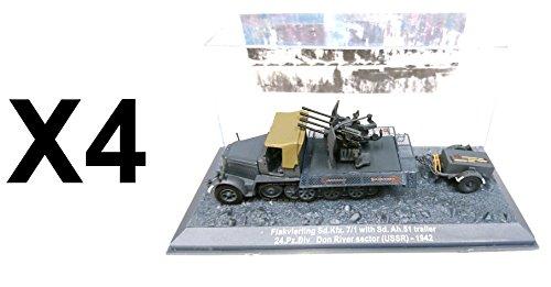 Unbekannt Set von 4 Angriffs Panzer s 1/72 Panzer FLAKVIERLING SD.KFZ. 7/1 with SD. AH. Trailer USSR 1942 (4xDA2)