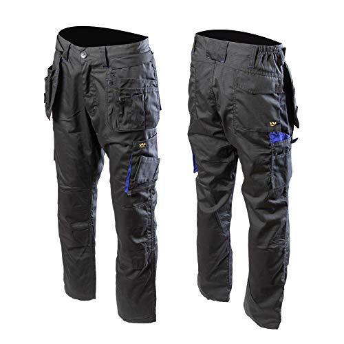 Seven Kings Topaz - Pantalones funcionales de trabajo, para jardín, seguridad, Negro , 54