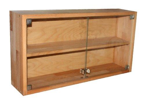 Dekorative Vitrine aus Echtholz (Buche geölt), Setzkasten, Glasvitrine, Schaukasten, Hängeschrank, echtes Holz