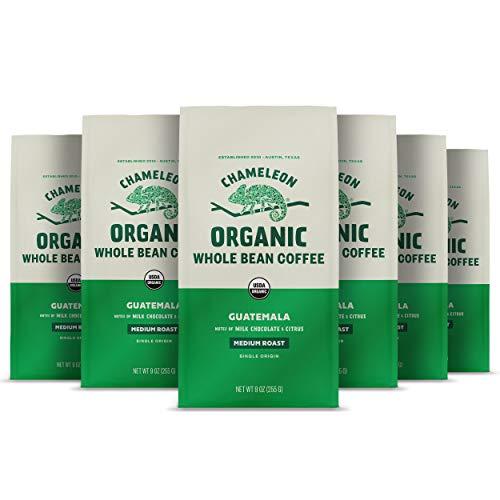Chameleon Organic Whole Bean Coffee, Medium Roast Guatemala, 100% Arabica, Milk Chocolate and Citrus, 9 Oz , Pack of 6