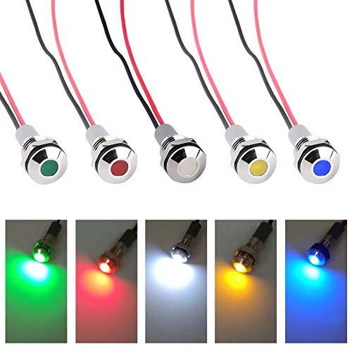 Bkinsety 5 Stück LED-Kontrollleuchte 12V 6MM Signallampe Armaturenbrett Warnlampe