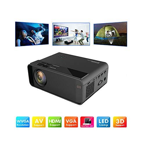 Projector, draagbare home theater cinema lcd-tv slimme 3D filmprojector, ondersteuning voor miniatuur LED-videoprojector 1080p, HD draagbare projector met HDMI en AV-kabel,Black
