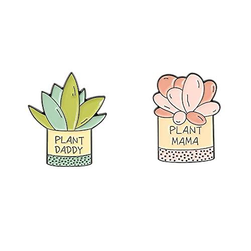Datouya Plante Yang Style émail Broche épingle épingle enveloppe emblème Bouilloire Broche booch Couple Bijoux Dame Cadeau (Metal Color : Set)
