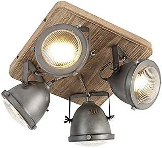 QAZQA Plafón industrial acero madera orientable 4-luces - EMADO/Acero Cuadrada Adecuado para LED Max. 4 x 25 Watt