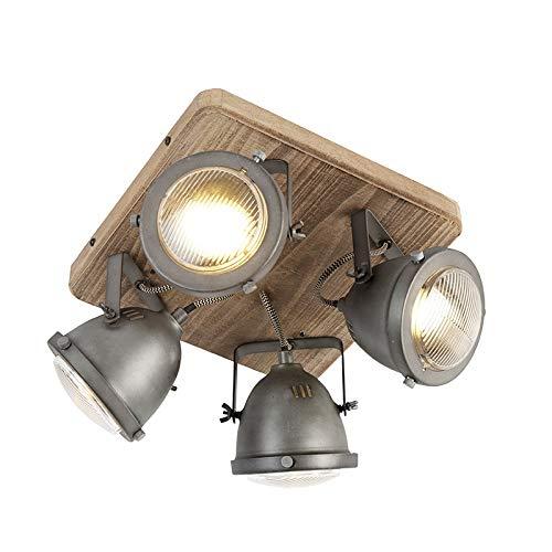 QAZQA - Industrie | Industrial IndustrieSpot | Spotlight | Deckenspot | Deckenstrahler | Strahler | Lampe | Leuchte stahl | nickel matt mit Holz kippbar 4-flammig Spotbalken-Licht - Emado | Wohnzimmer