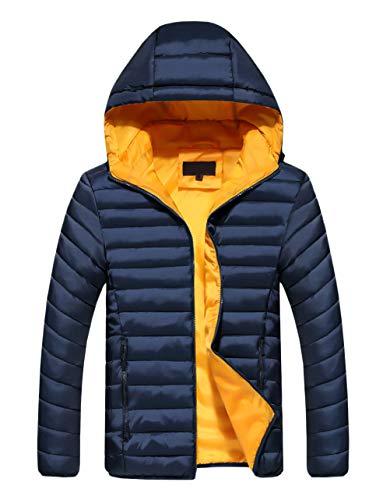 HaiDean donsjack voor heren, elegante normale lak, herfst met lange mouwen, gewatteerd winterjack met capuchon, jongens, chique donsjas, met zakken en ritssluiting, winterjack outwear